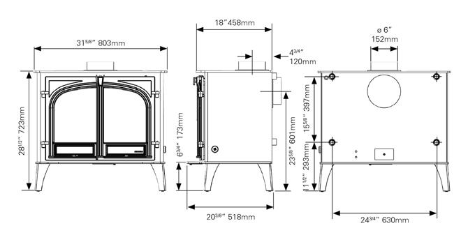 Stockton 14HB Boiler Stove Dimensions