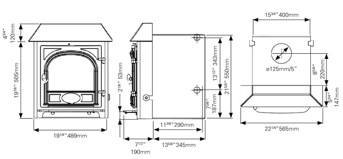 Stockton 7HBi Boiler Stove Dimensions