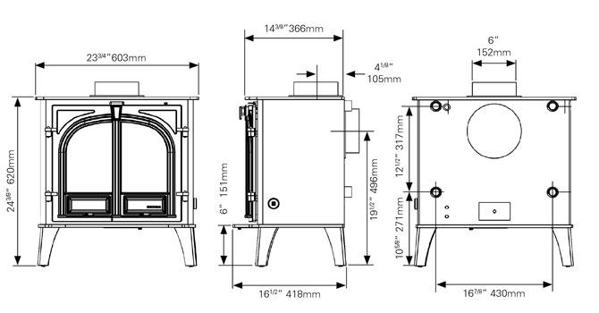 Stockton 8HB Boiler Stove Dimensions