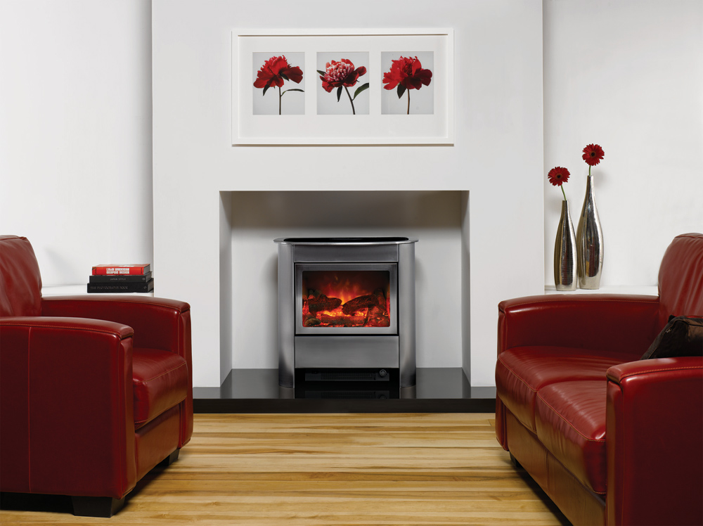 Steel Manhattan Electric Stoves - Gazco Contemporary Stoves