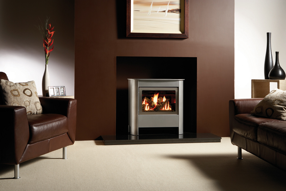 Log Burner Effect Fires Part - 36: Gazco Medium Steel Manhattan Gas Stove In Brushed Stainless Steel With Log-effect  Fire