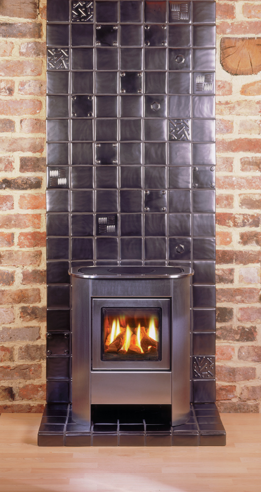 Log Burner Effect Fires Part - 50: Gazco Small Steel Manhattan Gas Stove, Balanced Flue In Brushed Stainless  Steel With Log-effect Fire