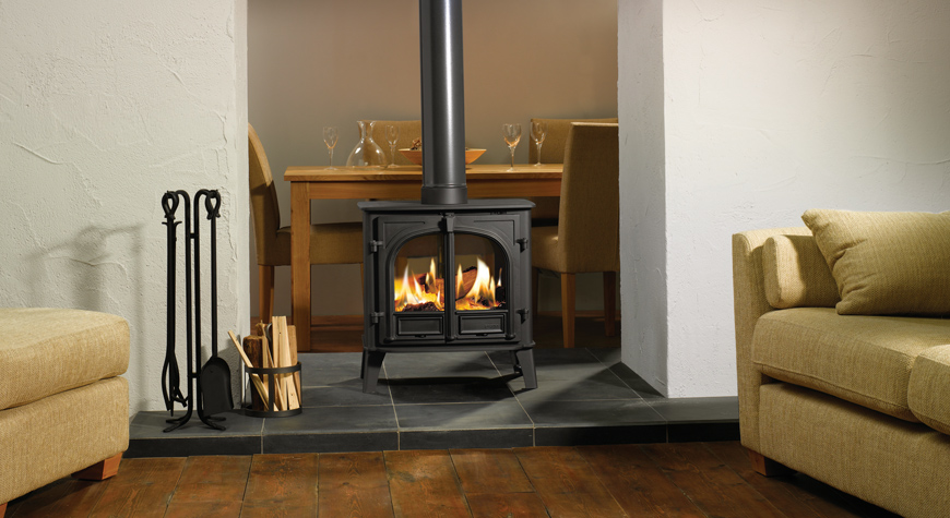Stovax Stockton 8 double sided stove, flat top in Matt Black, burning logs. - Stockton Double Sided Wood Burning & Multi-fuel Stoves