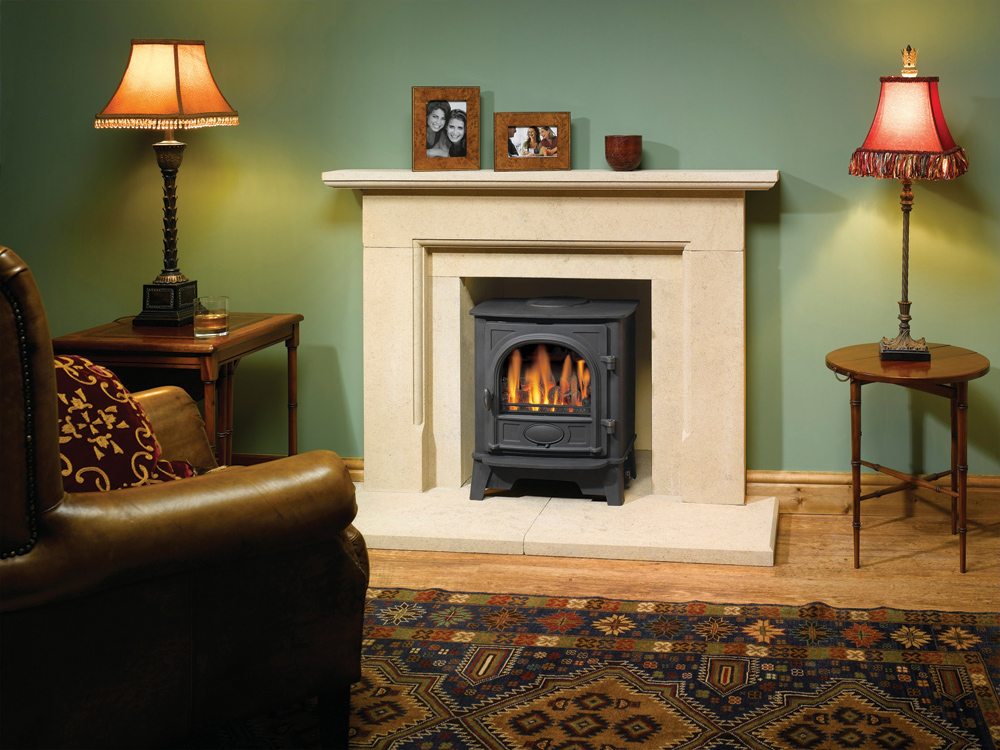 Log Burner Effect Fires Part - 15: Gazco Stockton 5 Gas Stove, Conventional Flue With Coal-effect Fire (Please  Note This Is A Viable Installation In Stone, But Not Suitable For  Combustible ...