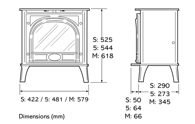 Stockton Electric Stoves Dimensions