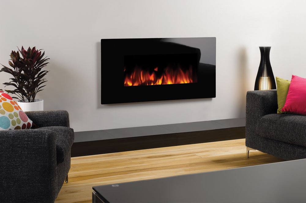 Studio electric glass wall mounted fires gazco fires for Camini elettrici leroy merlin