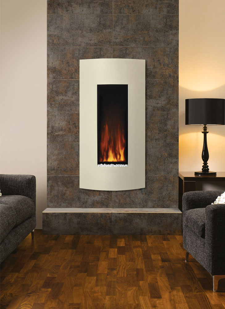 Gazco Studio Electric 22 Verve wall mounted fire in Ivory