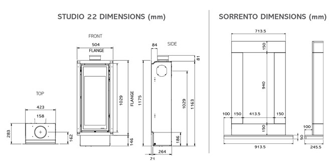 Studio 22 Gas Fires Dimensions