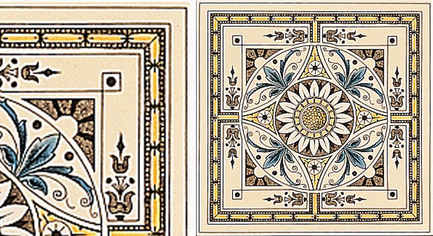 Symmetrical Classical Pattern Single & Quarter TIles - Stovax