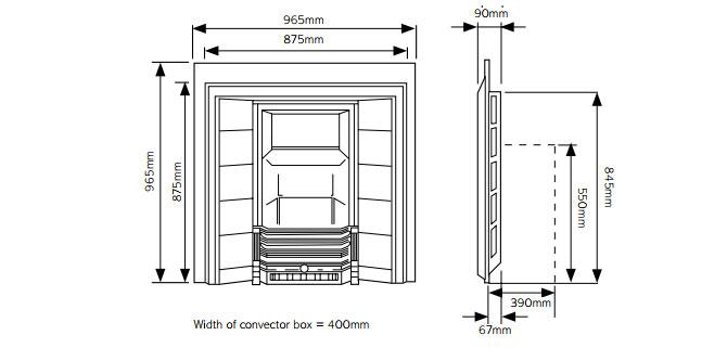 Victorian Tiled Convectors Dimensions