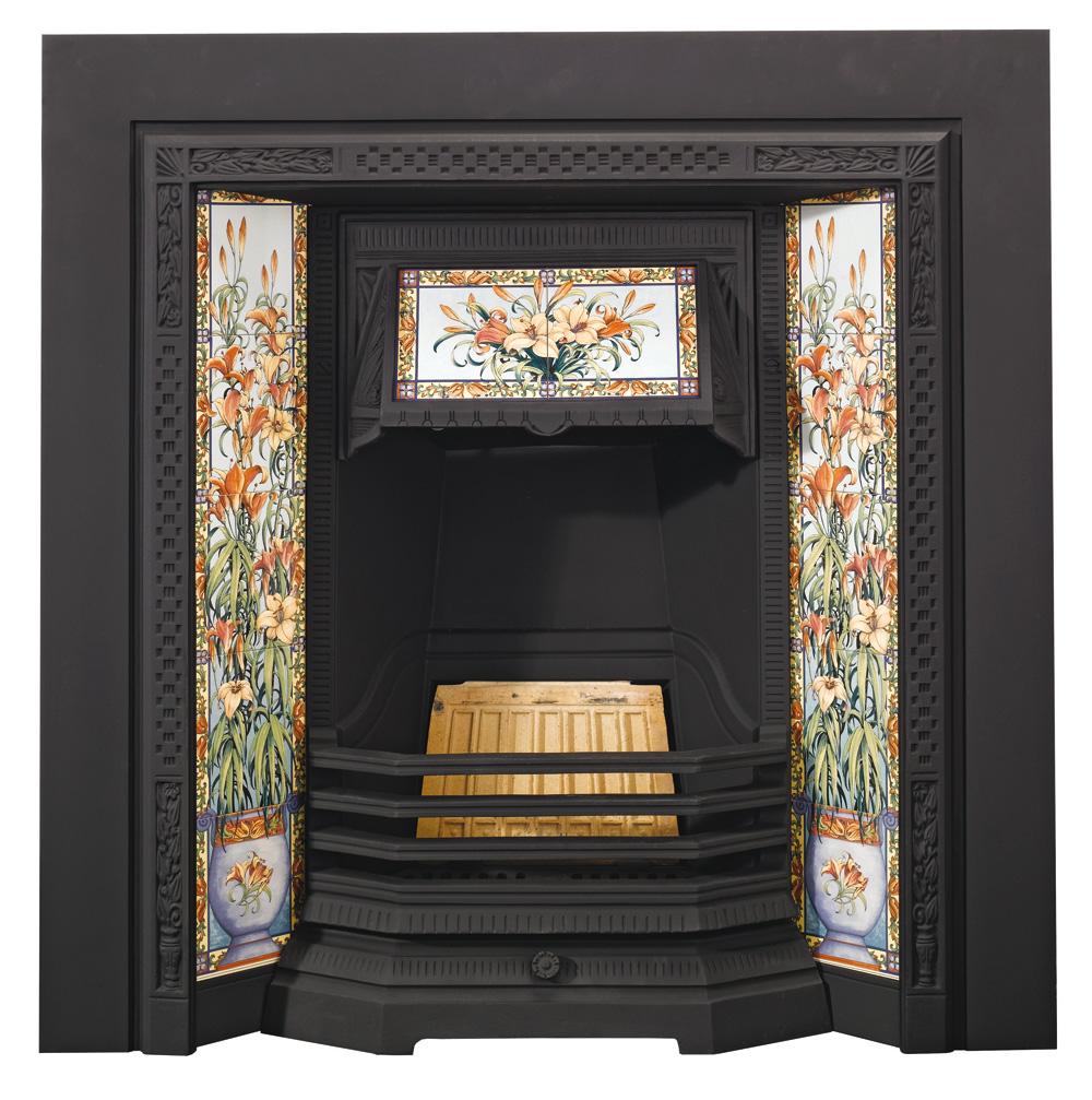 Stovax Victorian Tiled Insert fireplace, Matt Black - Victorian Tiled Insert Fireplaces - Stovax Traditional Fireplaces