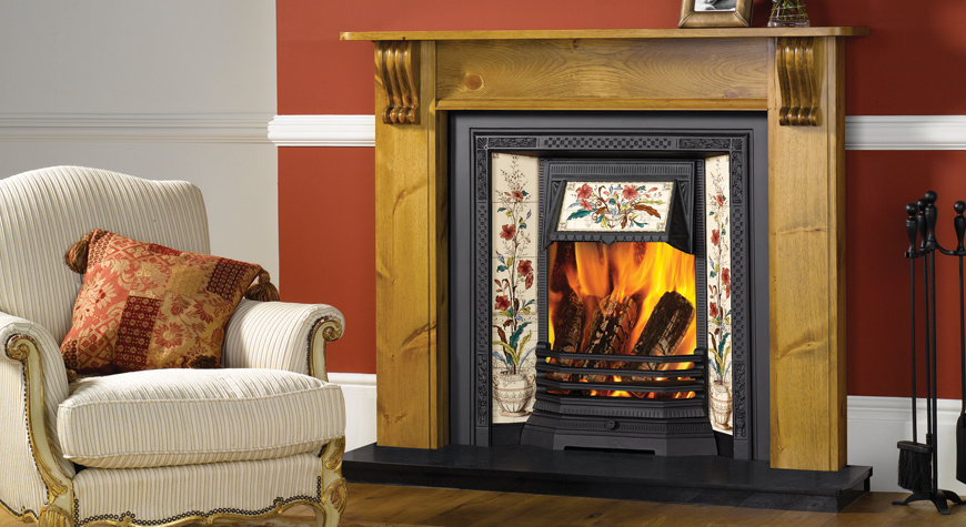 Stovax Victorian Tiled Insert fireplace with Poppy and Wheatsheaf 5-tile  sets. Also shown: Victorian wood mantel. - Victorian Tiled Insert Fireplaces - Stovax Traditional Fireplaces