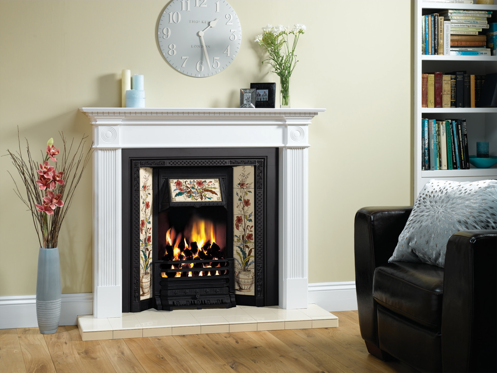 Stovax Victorian Tiled insert fireplace with Poppy and Wheatsheaf 5-tile  sets. Also shown: Georgian white mantel. - Victorian Tiled Insert Fireplaces - Stovax Traditional Fireplaces