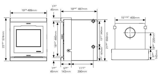View 7HBi Inset Boiler Stove Dimensions